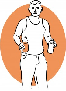 A man holds a drink in each hand. Binge drinking can occur at any age