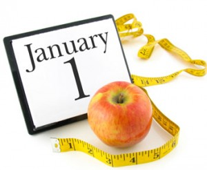 January First Calendar, apple and measuring tape for New Year's Resolutions