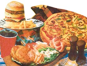 Platter of unhealthy foods