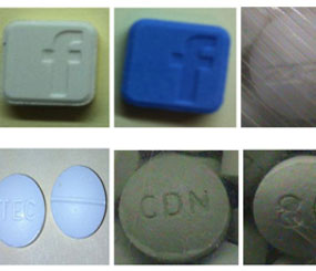 Some pills of the dangerous new painkiller have a Facbook logo to appeal to a younger audience